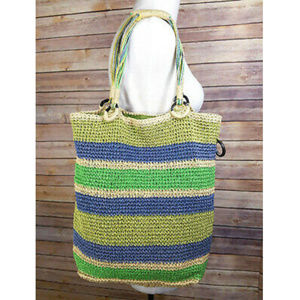 Old Navy Green Blue Striped Straw Tote Purse Bag